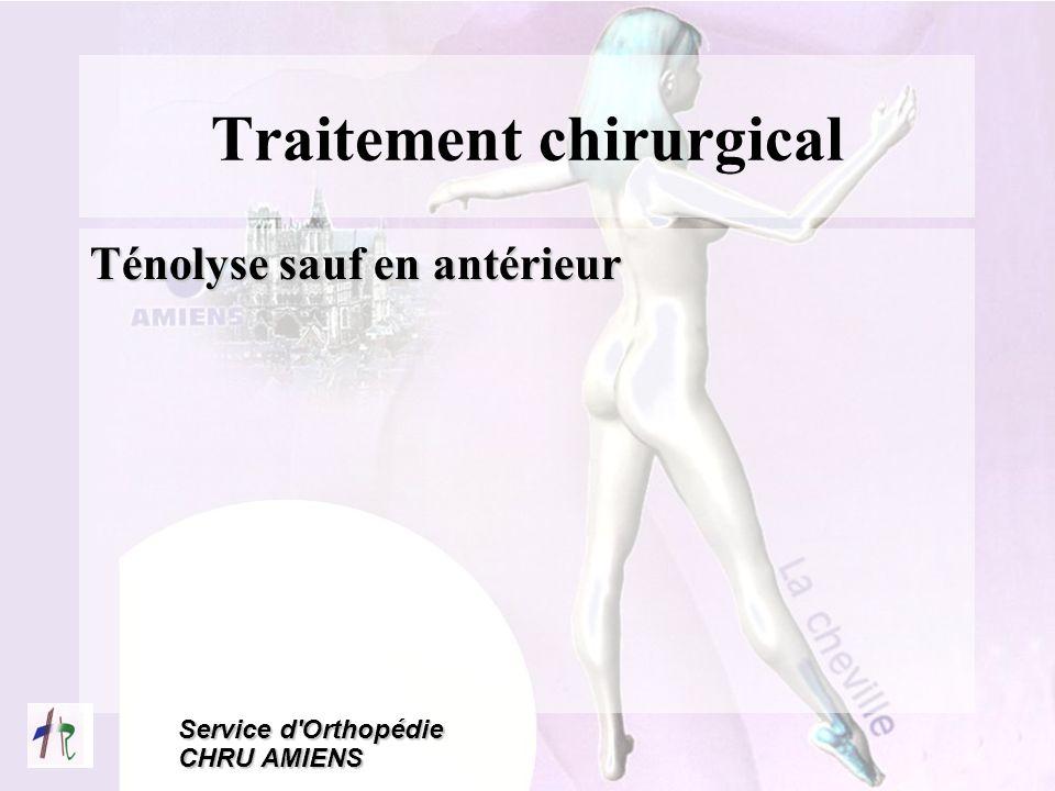 Service d'Orthopédie CHRU AMIENS Traitement chirurgical Ténolyse sauf en antérieur
