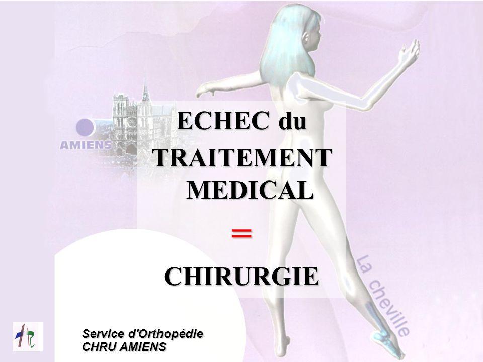 Service d'Orthopédie CHRU AMIENS ECHEC du TRAITEMENT MEDICAL =CHIRURGIE