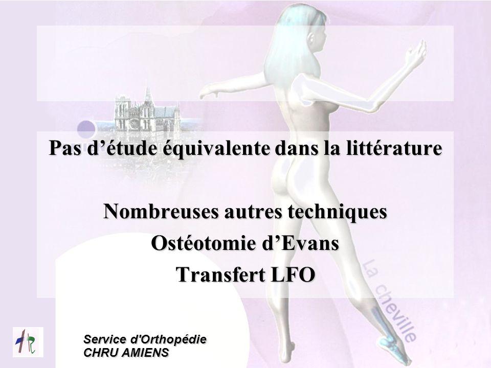 Service d'Orthopédie CHRU AMIENS Pas détude équivalente dans la littérature Nombreuses autres techniques Ostéotomie dEvans Transfert LFO