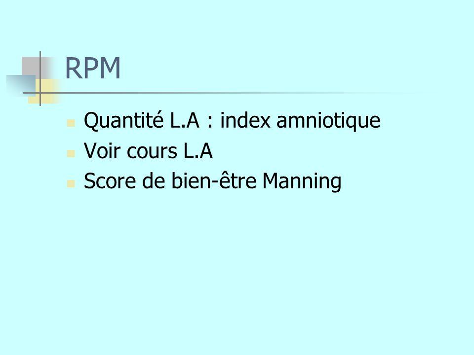 RPM Quantité L.A : index amniotique Voir cours L.A Score de bien-être Manning