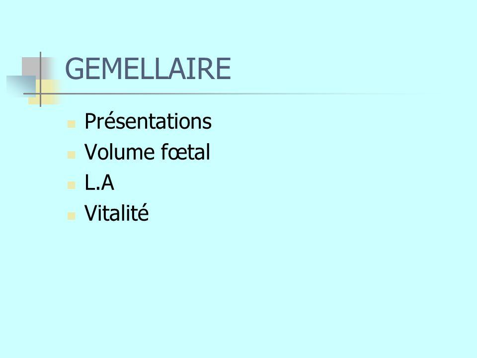 GEMELLAIRE Présentations Volume fœtal L.A Vitalité