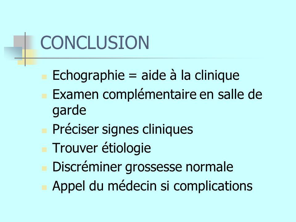 CONCLUSION Echographie = aide à la clinique Examen complémentaire en salle de garde Préciser signes cliniques Trouver étiologie Discréminer grossesse normale Appel du médecin si complications