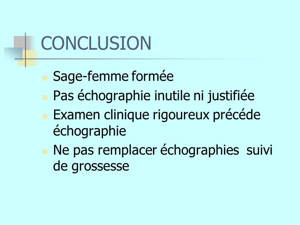 CONCLUSION Sage-femme formée Pas échographie inutile ni justifiée Examen clinique rigoureux précéde échographie Ne pas remplacer échographies suivi de grossesse