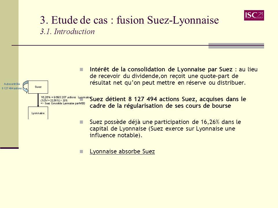 3. Etude de cas : fusion Suez-Lyonnaise 3.1. Introduction Intérêt de la consolidation de Lyonnaise par Suez : au lieu de recevoir du dividende,on reço
