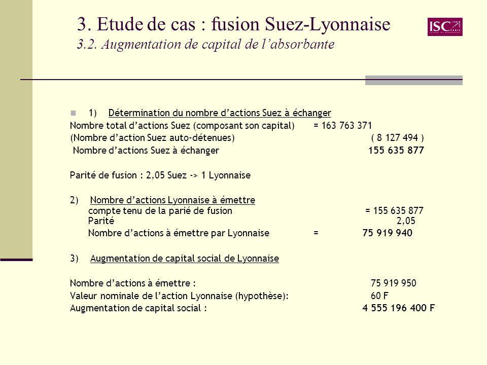 3. Etude de cas : fusion Suez-Lyonnaise 3.2. Augmentation de capital de labsorbante 1) Détermination du nombre dactions Suez à échanger Nombre total d