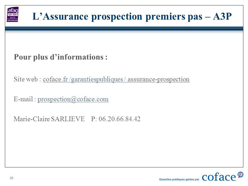 20 Pour plus dinformations : Site web : coface.fr /garantiespubliques / assurance-prospection.fr /garantiespubliques E-mail : prospection@coface.compr