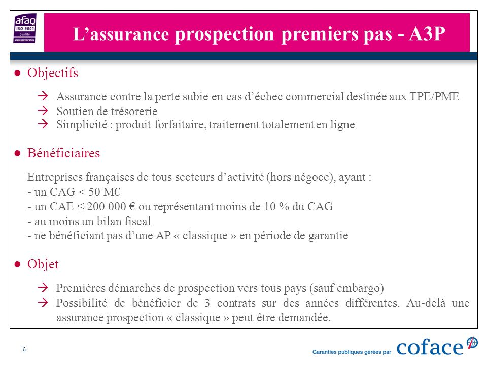 6 Objectifs Assurance contre la perte subie en cas déchec commercial destinée aux TPE/PME Soutien de trésorerie Simplicité : produit forfaitaire, trai