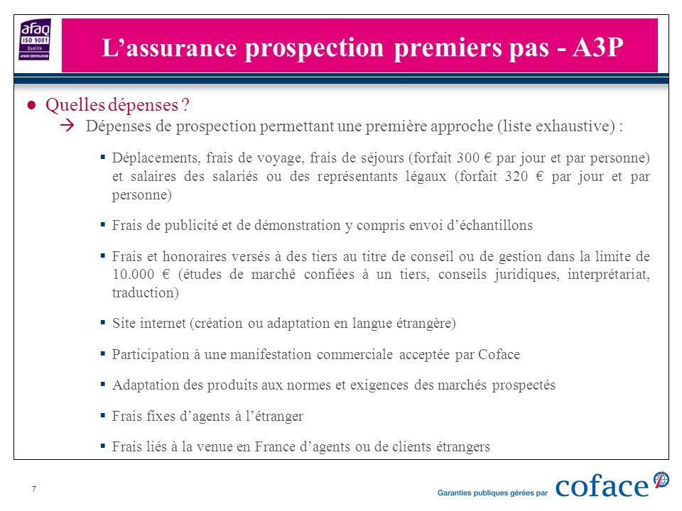 7 Quelles dépenses ? Dépenses de prospection permettant une première approche (liste exhaustive) : Déplacements, frais de voyage, frais de séjours (fo