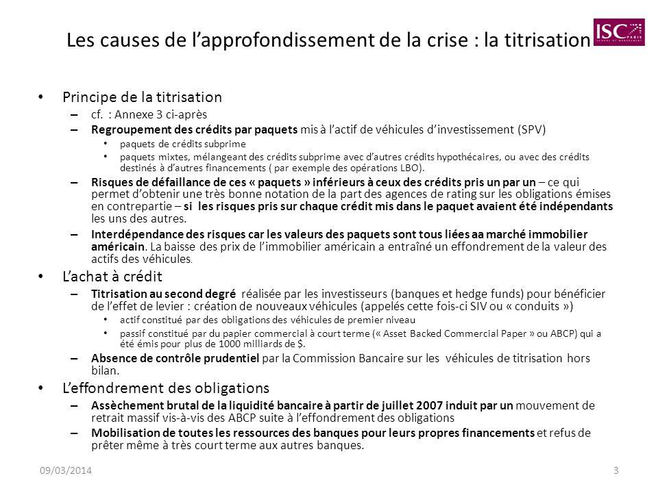 09/03/20143 Les causes de lapprofondissement de la crise : la titrisation Principe de la titrisation – cf. : Annexe 3 ci-après – Regroupement des créd