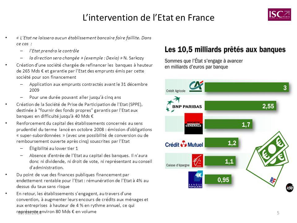 09/03/20145 Lintervention de lEtat en France « L'Etat ne laissera aucun établissement bancaire faire faillite. Dans ce cas : – l'Etat prendra le contr