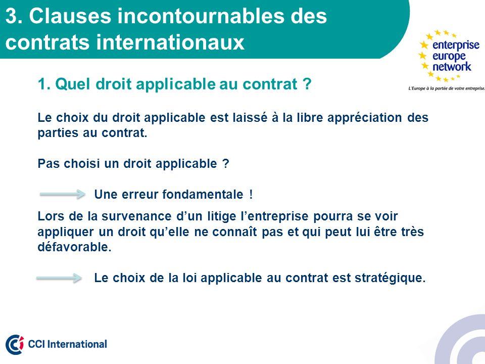 3. Clauses incontournables des contrats internationaux 1. Quel droit applicable au contrat ? Le choix du droit applicable est laissé à la libre appréc