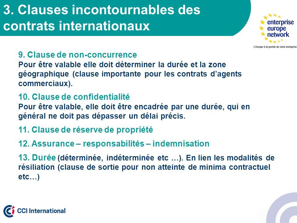 3. Clauses incontournables des contrats internationaux 9. Clause de non-concurrence Pour être valable elle doit déterminer la durée et la zone géograp