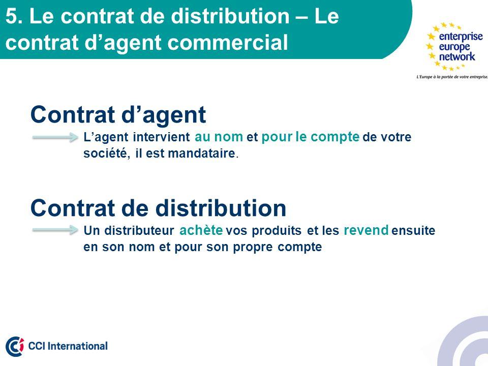 5. Le contrat de distribution – Le contrat dagent commercial Contrat dagent Lagent intervient au nom et pour le compte de votre société, il est mandat