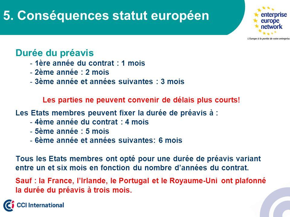 5. Conséquences statut européen Durée du préavis - 1ère année du contrat : 1 mois - 2ème année : 2 mois - 3ème année et années suivantes : 3 mois Les