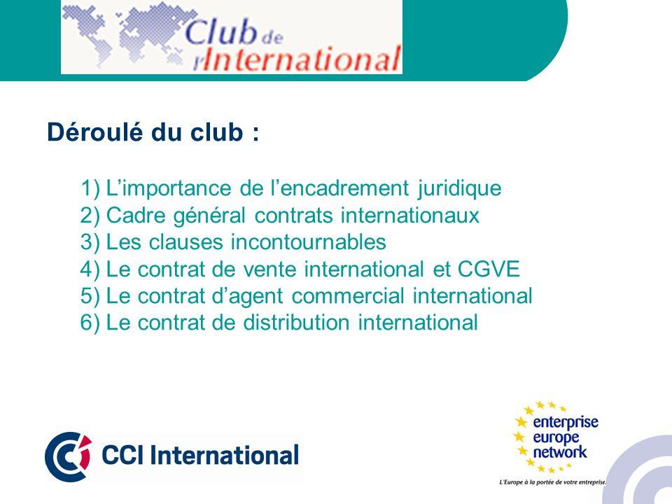 Déroulé du club : 1) Limportance de lencadrement juridique 2) Cadre général contrats internationaux 3) Les clauses incontournables 4) Le contrat de ve