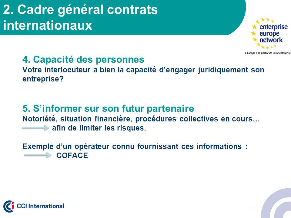 2. Cadre général contrats internationaux 4. Capacité des personnes Votre interlocuteur a bien la capacité dengager juridiquement son entreprise? 5. Si