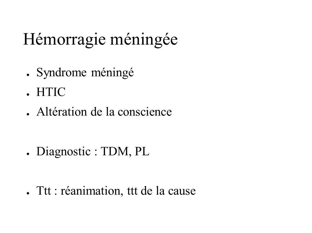Hémorragie méningée Syndrome méningé HTIC Altération de la conscience Diagnostic : TDM, PL Ttt : réanimation, ttt de la cause