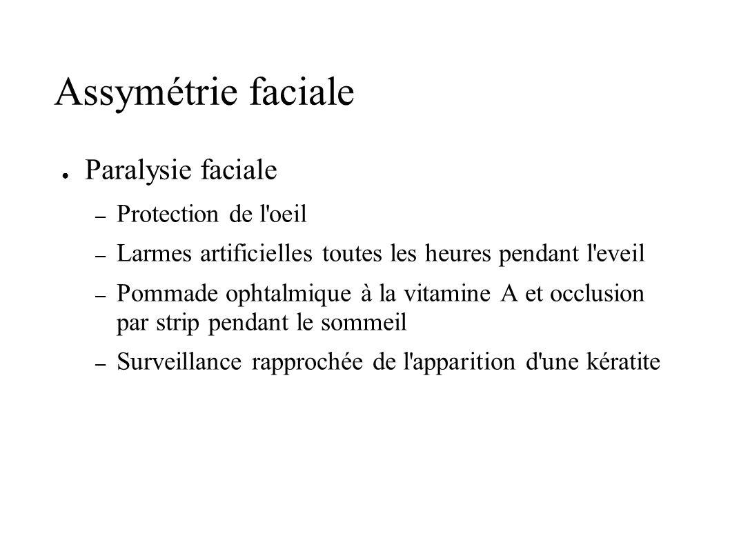 Assymétrie faciale Paralysie faciale – Protection de l'oeil – Larmes artificielles toutes les heures pendant l'eveil – Pommade ophtalmique à la vitami