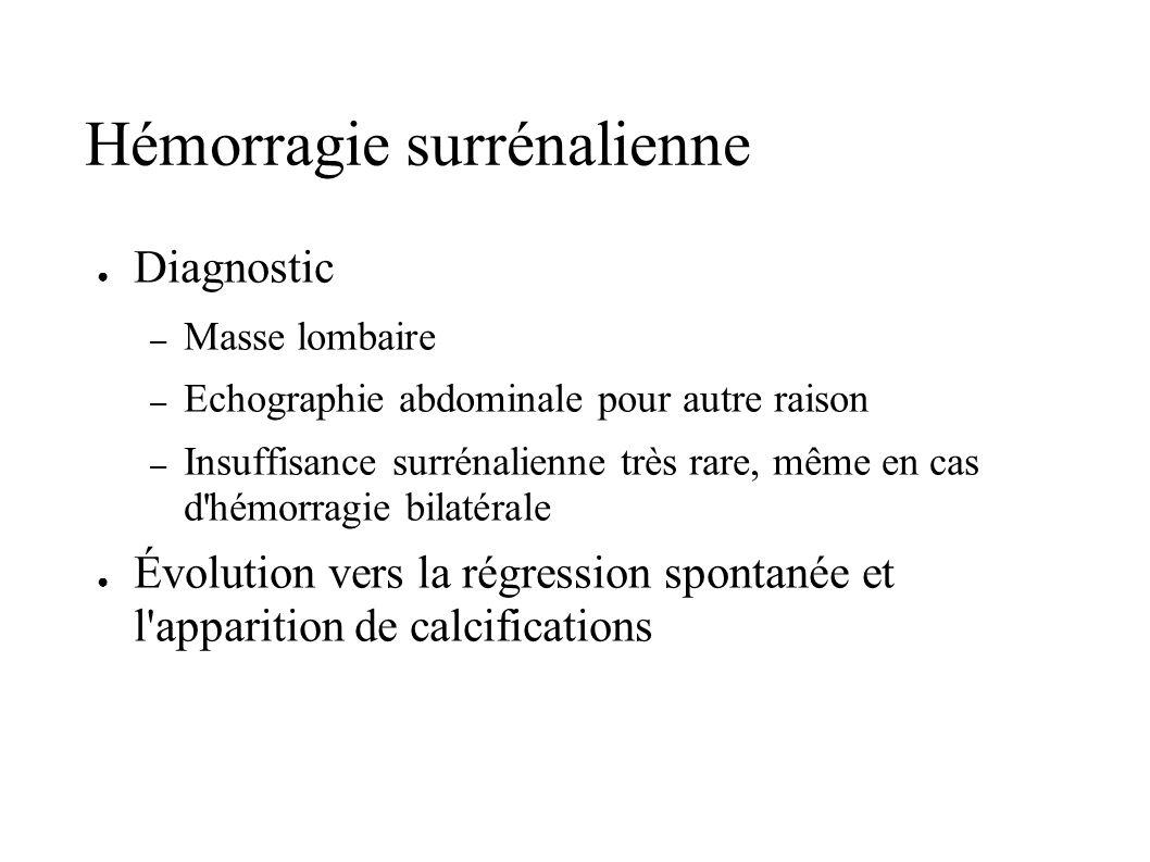 Hémorragie surrénalienne Diagnostic – Masse lombaire – Echographie abdominale pour autre raison – Insuffisance surrénalienne très rare, même en cas d'
