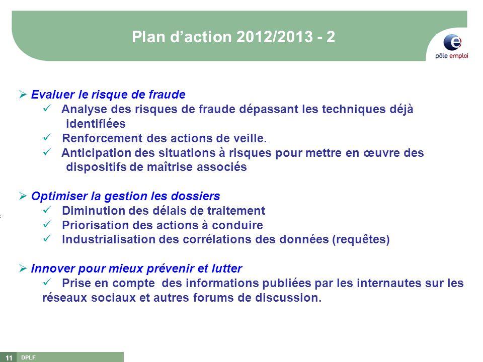 DPLF 11 Plan daction 2012/2013 - 2 [1][1] DGEFP : Délégation Générale à lEmploi et à la Formation Professionnelle [2][2] DNLF : Délégation Nationale à