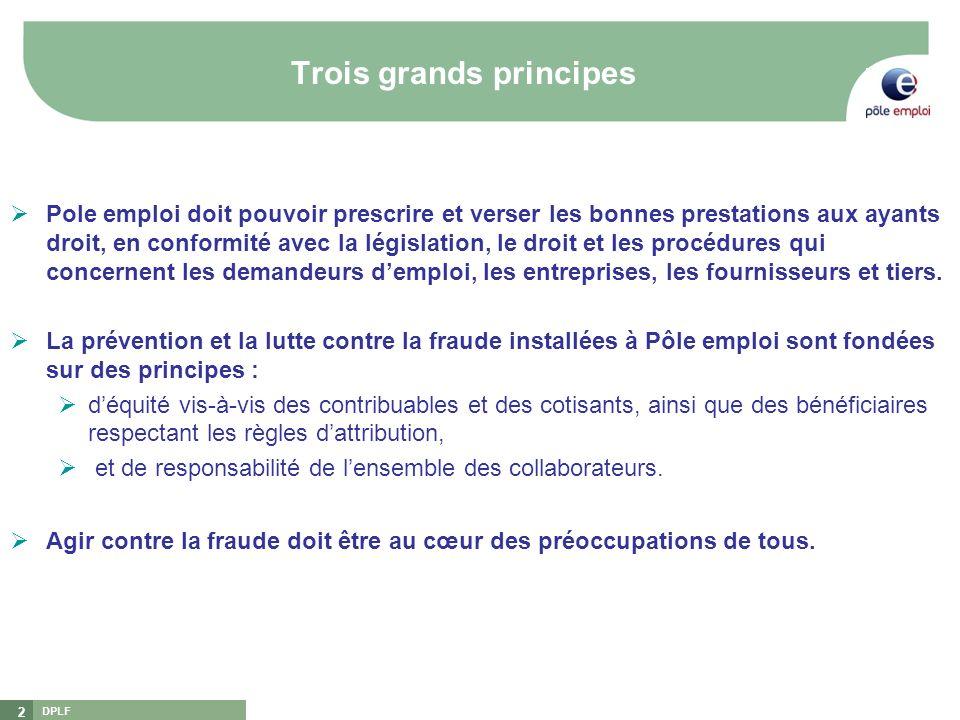 DPLF 2 Trois grands principes Pole emploi doit pouvoir prescrire et verser les bonnes prestations aux ayants droit, en conformité avec la législation,