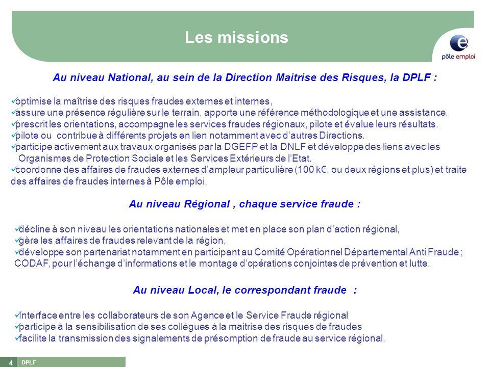 DPLF 4 Les missions [1][1] DGEFP : Délégation Générale à lEmploi et à la Formation Professionnelle [2][2] DNLF : Délégation Nationale à la Lutte contr