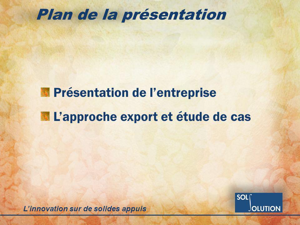 Linnovation sur de solides appuis Plan de la présentation Présentation de lentreprise Lapproche export et étude de cas