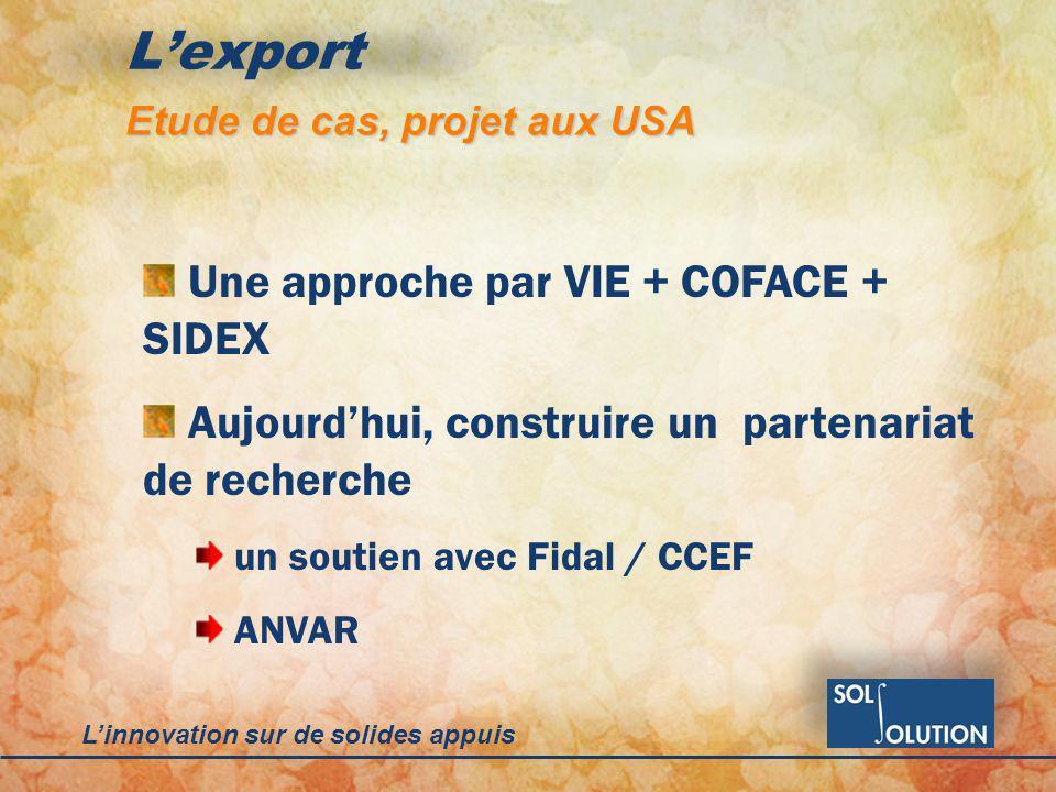 Linnovation sur de solides appuis Lexport Etude de cas, projet aux USA Une approche par VIE + COFACE + SIDEX Aujourdhui, construire un partenariat de recherche un soutien avec Fidal / CCEF ANVAR