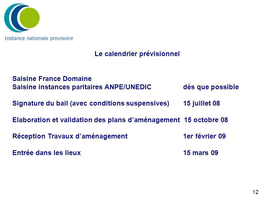 12 Le calendrier prévisionnel Saisine France Domaine Saisine instances paritaires ANPE/UNEDIC dès que possible Signature du bail (avec conditions susp