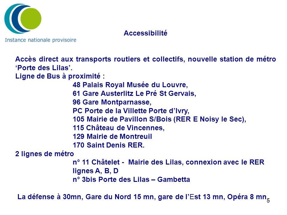 5 Accessibilité Accès direct aux transports routiers et collectifs, nouvelle station de métro Porte des Lilas. Ligne de Bus à proximité : 48 Palais Ro