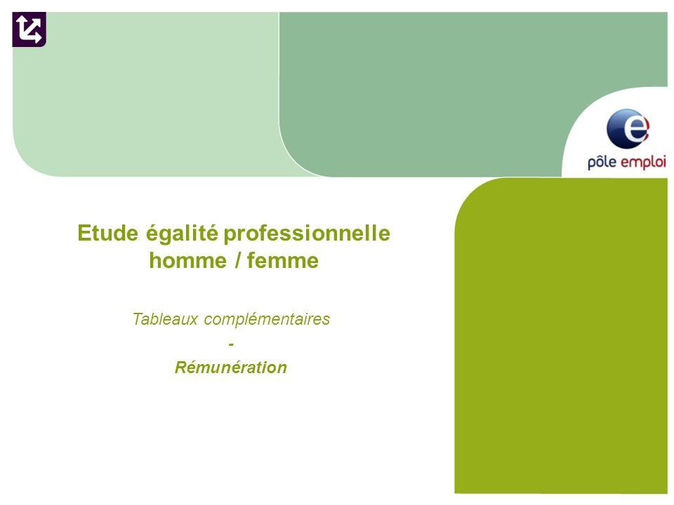 Etude égalité professionnelle homme / femme Tableaux complémentaires - Rémunération