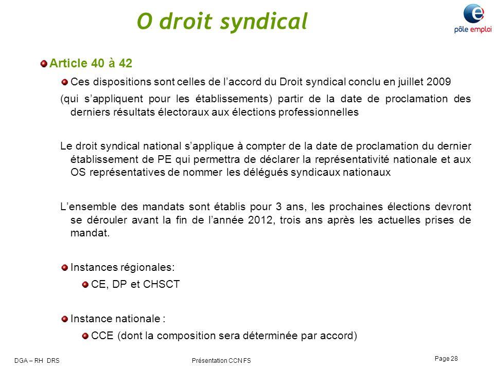 DGA – RH DRS Présentation CCN FS Page 28 O droit syndical Article 40 à 42 Ces dispositions sont celles de laccord du Droit syndical conclu en juillet