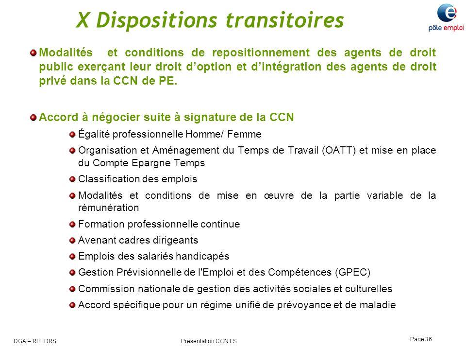 DGA – RH DRS Présentation CCN FS Page 36 X Dispositions transitoires Modalités et conditions de repositionnement des agents de droit public exerçant l