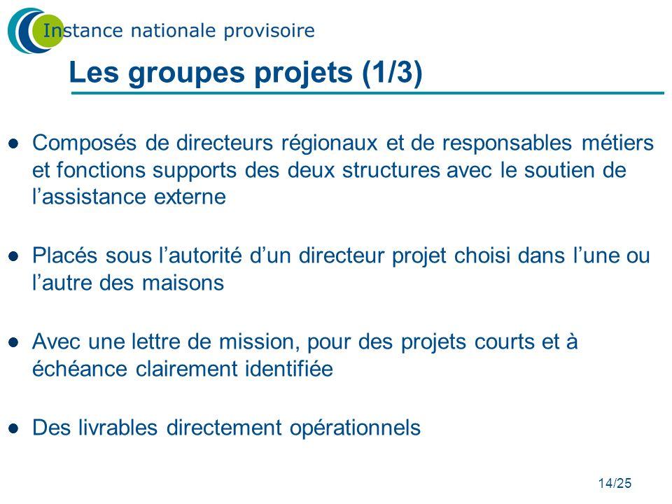 14/25 Les groupes projets (1/3) Composés de directeurs régionaux et de responsables métiers et fonctions supports des deux structures avec le soutien