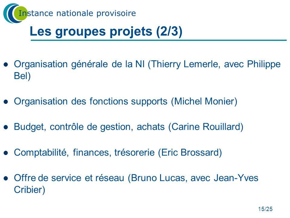 15/25 Les groupes projets (2/3) Organisation générale de la NI (Thierry Lemerle, avec Philippe Bel) Organisation des fonctions supports (Michel Monier