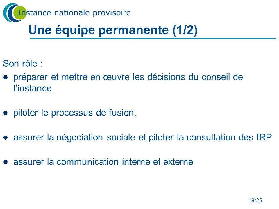 18/25 Une équipe permanente (1/2) Son rôle : préparer et mettre en œuvre les décisions du conseil de linstance piloter le processus de fusion, assurer