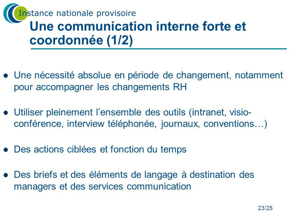23/25 Une communication interne forte et coordonnée (1/2) Une nécessité absolue en période de changement, notamment pour accompagner les changements R