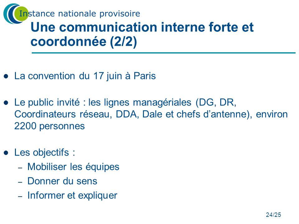 24/25 Une communication interne forte et coordonnée (2/2) La convention du 17 juin à Paris Le public invité : les lignes managériales (DG, DR, Coordin