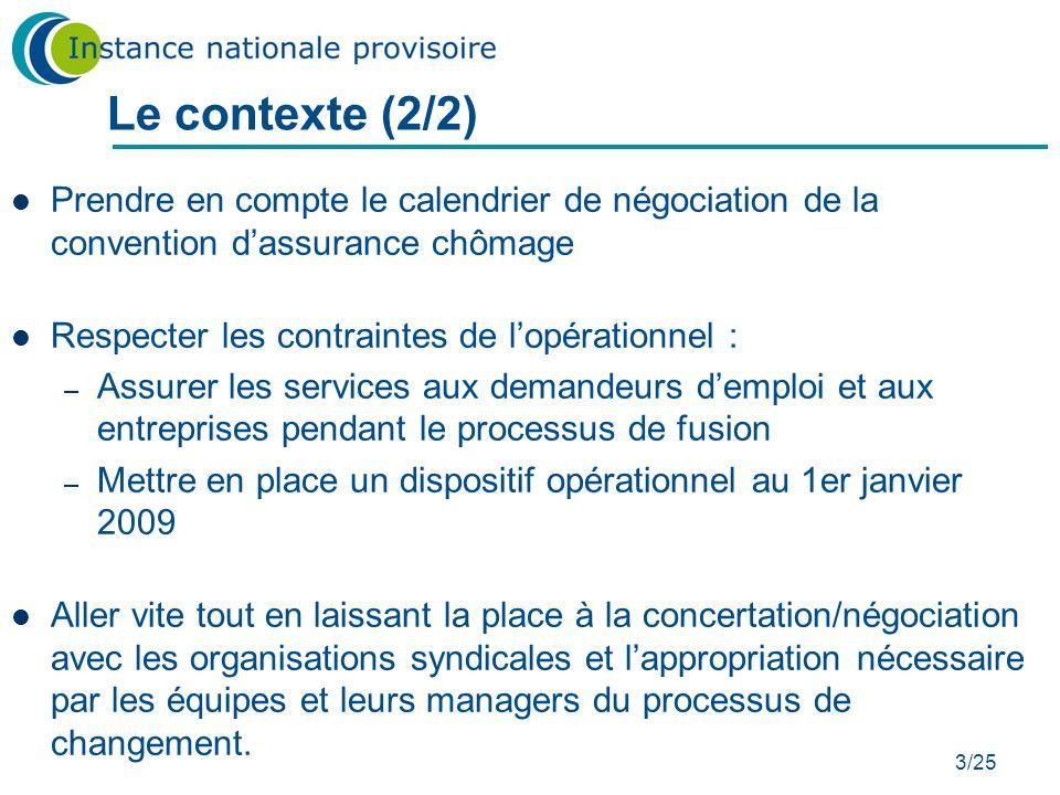 3/25 Prendre en compte le calendrier de négociation de la convention dassurance chômage Respecter les contraintes de lopérationnel : – Assurer les ser