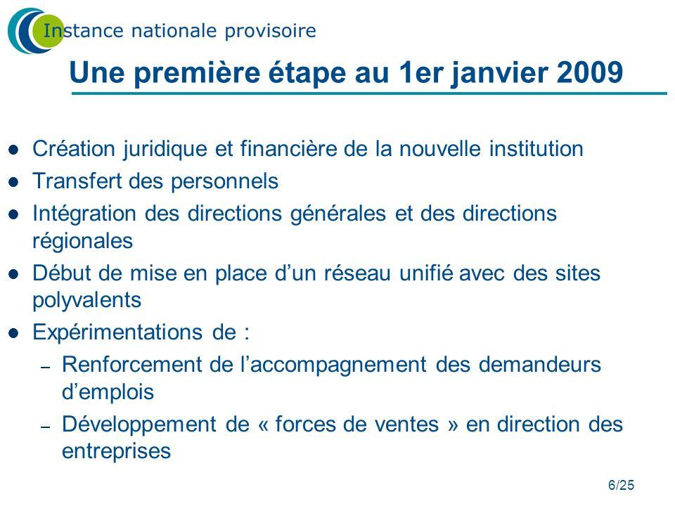 6/25 Une première étape au 1er janvier 2009 Création juridique et financière de la nouvelle institution Transfert des personnels Intégration des direc