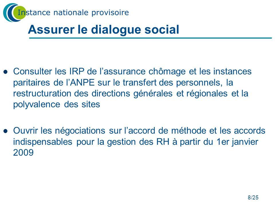 8/25 Assurer le dialogue social Consulter les IRP de lassurance chômage et les instances paritaires de lANPE sur le transfert des personnels, la restr