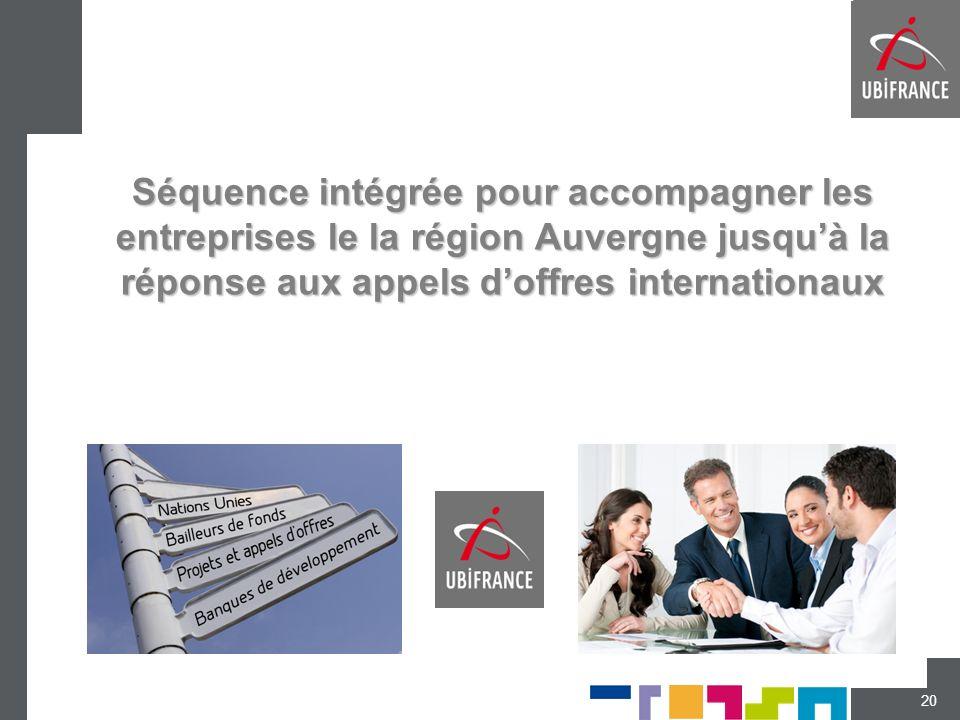 Séquence intégrée pour accompagner les entreprises le la région Auvergne jusquà la réponse aux appels doffres internationaux 20