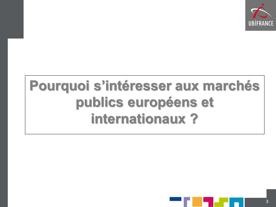 Pourquoi sintéresser aux marchés publics européens et internationaux ? 3