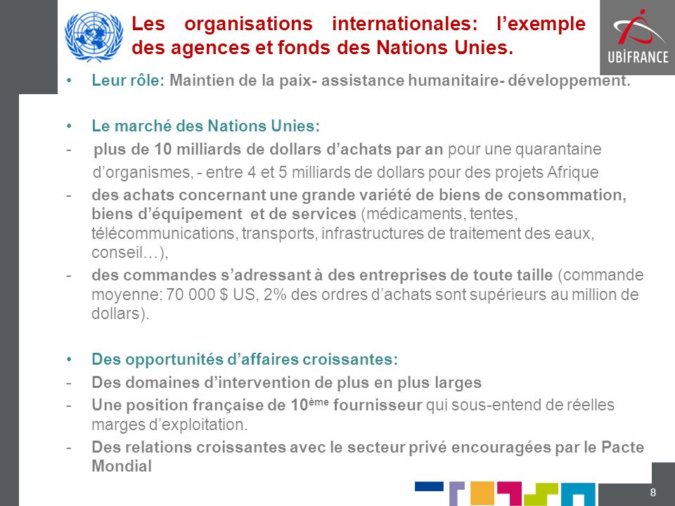 Les organisations internationales: lexemple des agences et fonds des Nations Unies.