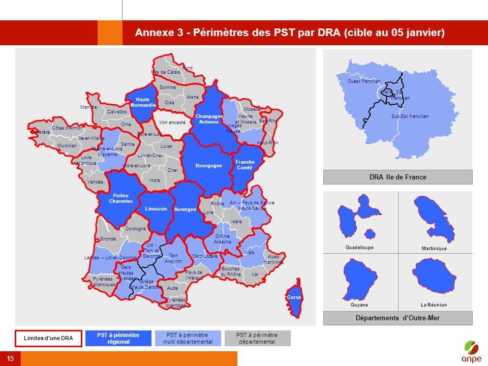 15 Annexe 3 - Périmètres des PST par DRA (cible au 05 janvier) Dordogne Gironde Landes – Lot-et-Garonne Pyrénées atlantiques Calvados Orne Morbihan Il