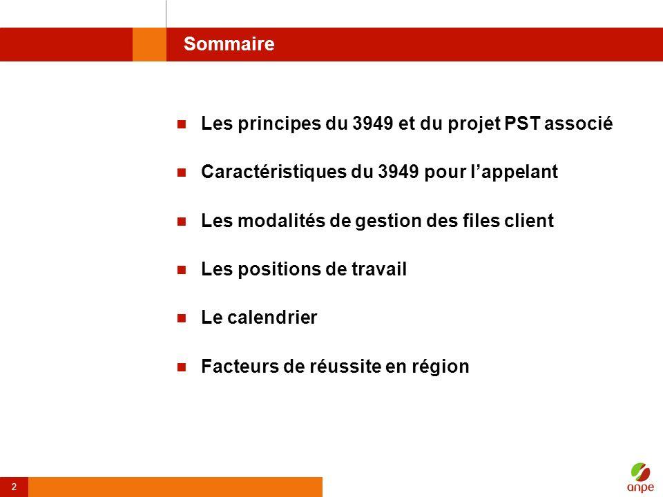 2 Sommaire Les principes du 3949 et du projet PST associé Caractéristiques du 3949 pour lappelant Les modalités de gestion des files client Les positi