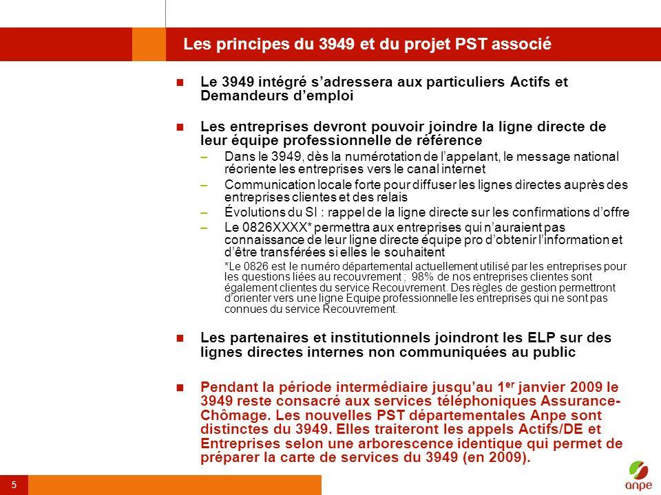 5 Les principes du 3949 et du projet PST associé Le 3949 intégré sadressera aux particuliers Actifs et Demandeurs demploi Les entreprises devront pouv