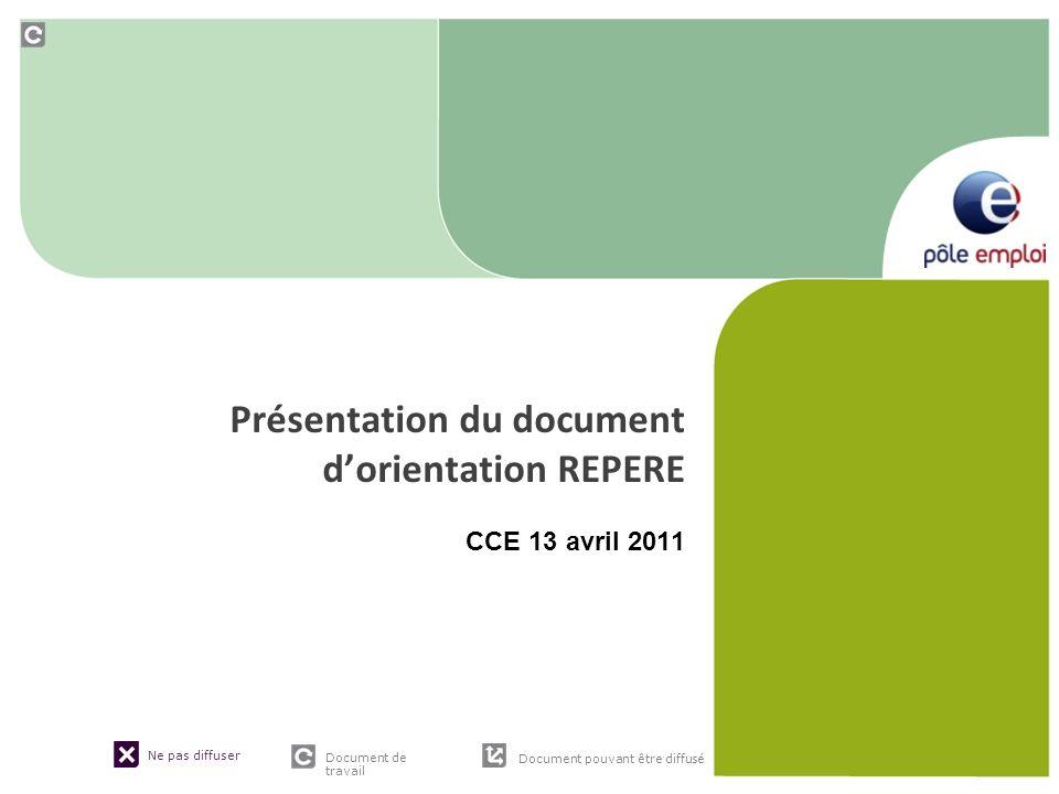 Ne pas diffuser Document de travail Document pouvant être diffusé Présentation du document dorientation REPERE CCE 13 avril 2011
