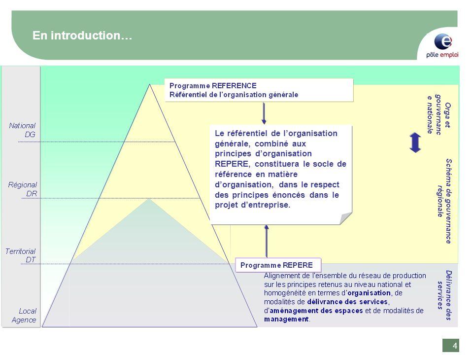 4 4 Le référentiel de lorganisation générale, combiné aux principes dorganisation REPERE, constituera le socle de référence en matière dorganisation, dans le respect des principes énoncés dans le projet dentreprise.