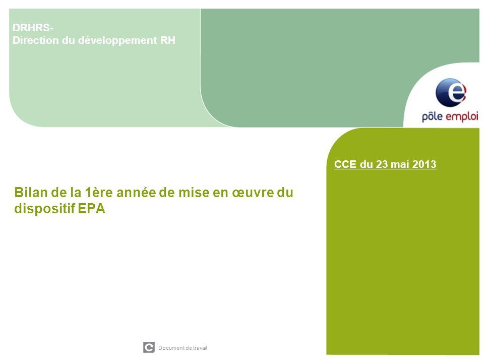 Document de travail Bilan de la 1ère année de mise en œuvre du dispositif EPA DRHRS- Direction du développement RH CCE du 23 mai 2013